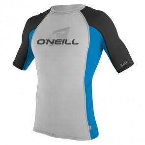 O'Neill Skins Short Sleeve Crew Rash Guard - Lunar/Blue/Black