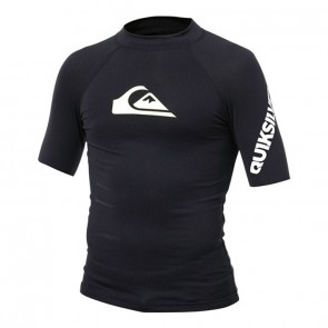 Quiksilver Wetsuits Youth All Time Short Sleeve Rash Guard - Black/White