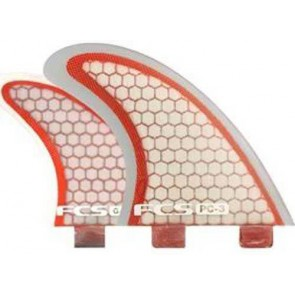 FCS Fins - PC3 Quad - Red/Clear Hex