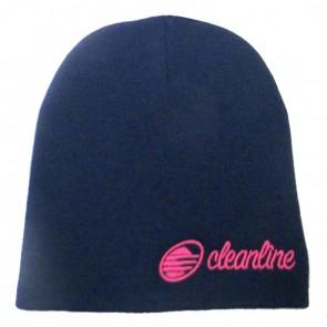 Cleanline Cursive Short Beanie - Navy/Pink