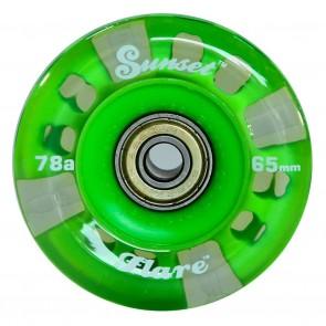 Sunset Skateboards - 65mm Flare Longboard LED Wheels - Green