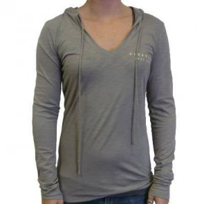 Cleanline Mural V-Neck Lightweight Hoodie - Grey