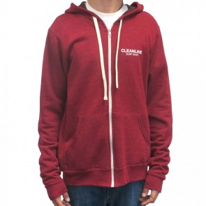 Cleanline Lines Zip Hoodie - Dark Red/White