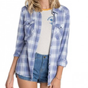 Billabong Women's Flannel Frenzy Shirt - Pebble Blue