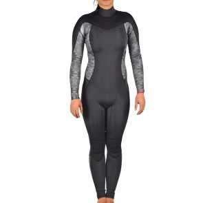 Billabong Women's Synergy 3/2 Flatlock Back Zip Wetsuit - Black Geo