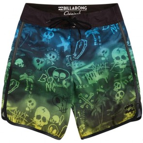 Billabong Youth Bad Billys Scallop Boardshorts - Neon Green