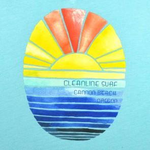 Cleanline Women's Golden Horizon Cannon Beach V-Neck T-Shirt - Tahiti Blue