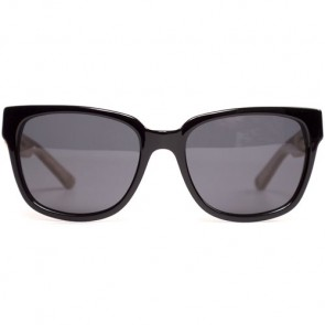Cassette Madness Polarized Sunglasses - Black/Zebrawood/Smoke