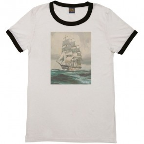Dark Seas Women's Endeavor Dead Wake Ringer Tee - Cream/Black