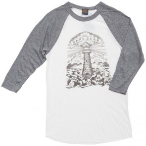 Dark Seas Women's Lighthouse Grave Donna Raglan - Light Grey/Heather Grey