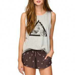 Element Women's Triangle Floral Tank - Heather Grey
