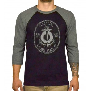Cleanline Anchor Cannon Beach Raglan T-Shirt - Black/Grey