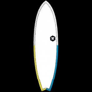 "Global Surf Industries Surfboards - 7'6"" 7S Super Fish 3 CV Surfboard - Yellow/Blue"