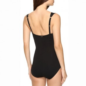 Jantzen Women's Draped Surplice One Piece Swimsuit - Black