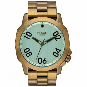 Nixon Ranger 45 Watch - All Brass/Green Crystal