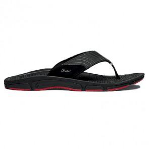 Olukai Kai Ko Leather Sandals - Black/Sour Cherry