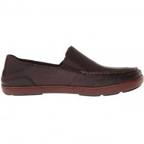 Olukai Puhalu Leather Loafers - Dark Wood/Toffee
