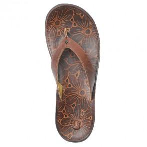 Olukai Women's Paniolo Plumeria Sandals - Chestnut/Plumeria