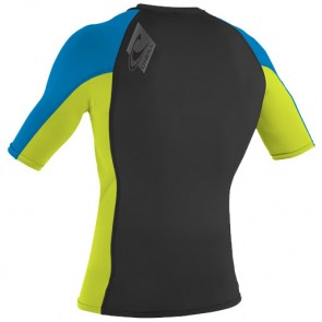 O'Neill Wetsuits Skins Short Sleeve Rash Guard - Black/Lime/Bright Blue