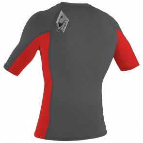 O'Neill Skins Short Sleeve Crew Rash Guard - Smoke/Red