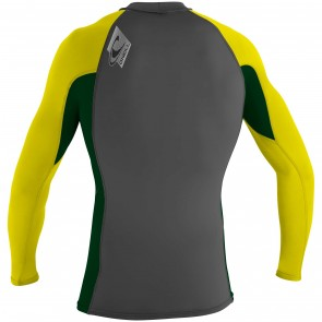 O'Neill Skins Long Sleeve Crew Rash Guard - Graphite/Combat/Yellow
