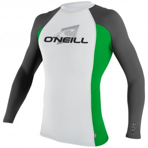 O'Neill Wetsuits Skins Long Sleeve Crew - White/Clean Green/Graphite