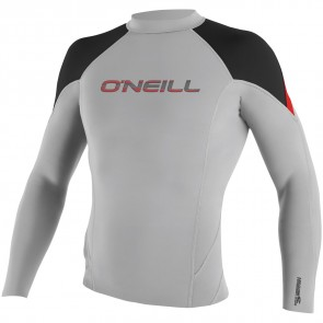 O'Neill Hammer 1.5mm Long Sleeve Crew - Lunar/Black/Neon Red