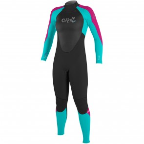 O'Neill Women's Epic 4/3 Back Zip Wetsuit - Black/Aqua/Berry