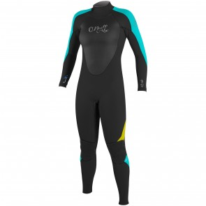 O'Neill Youth Girls Epic 4/3 Wetsuit - Black/Aqua/Yellow