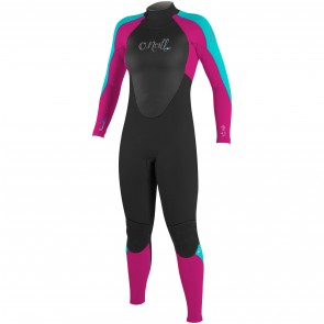 O'Neill Youth Girls Epic 4/3 Wetsuit - Black/Berry/Aqua