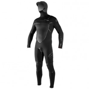 O'Neill Pyrotech 4/3 Hooded Chest Zip Wetsuit - Black