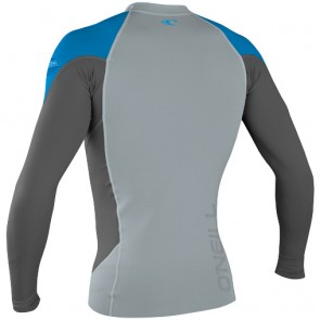 O'Neill Wetsuits HyperFreak Neo Skins Long Sleeve Rash Guard - Cool Grey/Graphite/Blue