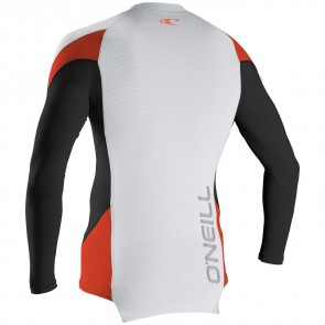 O'Neill Wetsuits Skins HyperFreak Long Sleeve Crew - White/Black/Neon Red