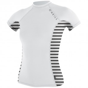 O'Neill Wetsuits Women's Side Print Crew - White/Rio Stripe