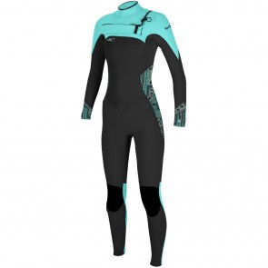 O'Neill Women's SuperFreak 4/3 Chest Zip Wetsuit - Black/Aqua/Grapefruit
