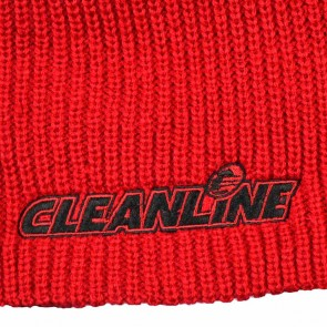 Cleanline Corp Logo Short Knit Beanie - Red/Black