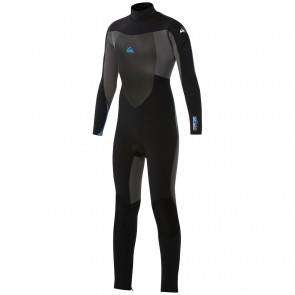 Quiksilver Youth Syncro 4/3 Back Zip Wetsuit - Black/Graphite/Blue
