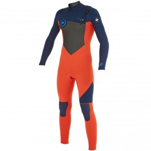 Quiksilver Youth Syncro 3/2 Chest Zip Wetsuit - Ink Blue/Orange