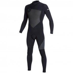 Quiksilver Syncro 3/2 Flatlock Back Zip Wetsuit - Black/Graphite