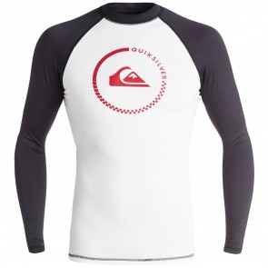 Quiksilver Wetsuits Lock Up Long Sleeve Rash Guard - White/Black