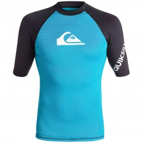 Quiksilver Wetsuits All Time Rash Guard - Hawaiian Ocean/Black