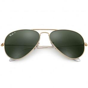 Ray-Ban Aviator Polarized Sunglasses - Gold/Crystal Green