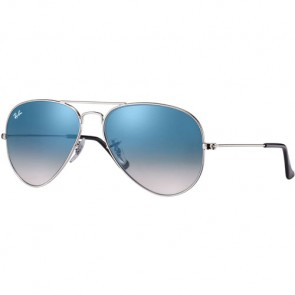 Ray-Ban Aviator Sunglasses - Silver/Crystal Light Blue Gradient