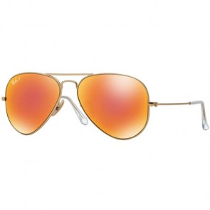 Ray-Ban Aviator Polarized Sunglasses - Matte Gold/Brown Mirror Red