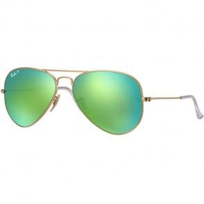 Ray-Ban Aviator Polarized Sunglasses - Matte Gold/Green Mirror