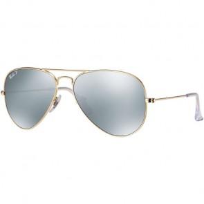 Ray-Ban Aviator Polarized Sunglasses - Matte Gold/Dark Grey