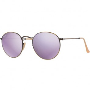 Ray-Ban Round Metal Sunglasses - Brushed Bronze/Lilac Mirror