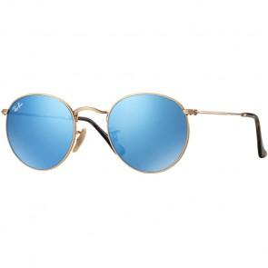 Ray-Ban Round Metal Sunglasses - Shiny Gold/Light Blue Flash