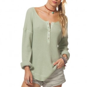 Rip Curl Women's Surf Bound Long Sleeve Henley Top - Light Green