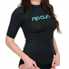 Rip Curl Wetsuits Women's Surf Team Short Sleeve Rash Guard - Black